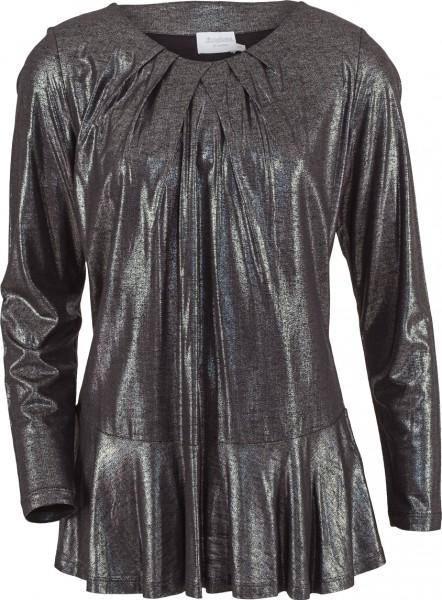 Shirt mit Schößchen und Glitzereffekt