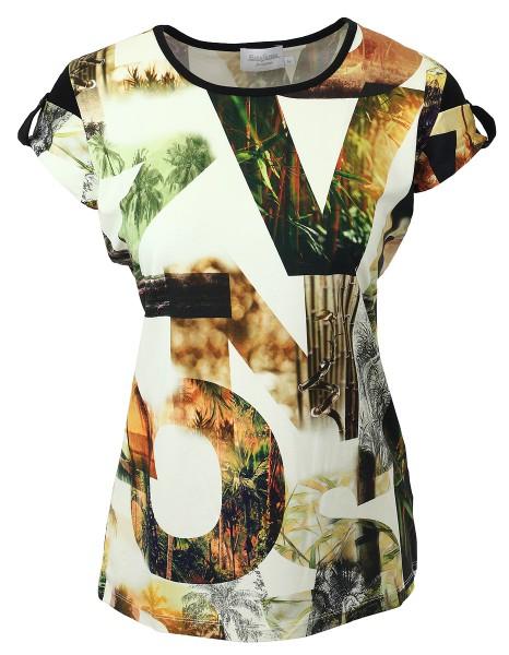 Estefania for woman Shirt im Sommerprint mit angeschnittenem Arm,144-1249