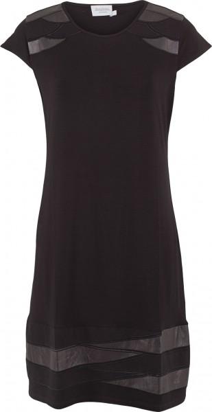 Kleid mit angeschnittenem Arm und Lederimitat-Patches
