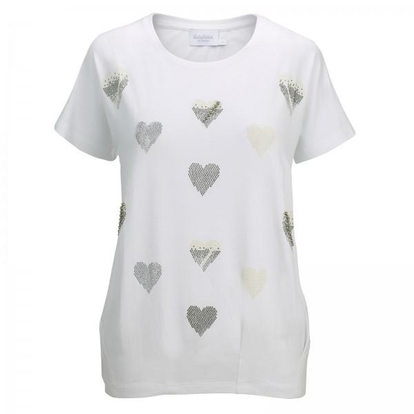 Estefania for woman, Shirt mit Herz-Optik und Strass Verzierung