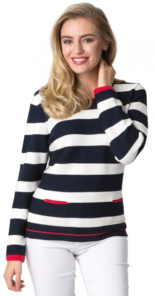 Rabe maritimer Pullover mit rotem Kontrast