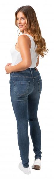 Gio Milano, Gio-Elisa, schmale Power-Stretch-Jeans-Hose im leichten Destroyed Look