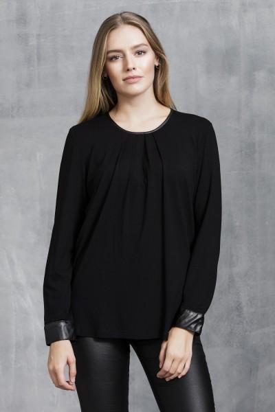 Estefania for woman, Shirt mit Biesen und Leder Ausschnitt rund