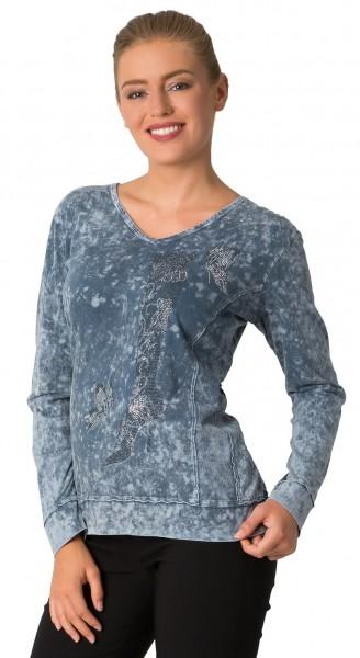 Estefania for woman, Shirt in Wash-Optik mit Strass