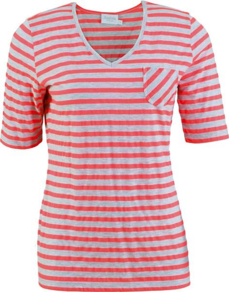 Estefania for woman,Ringel-Shirt mit V-Ausschnitt und Brusttasche