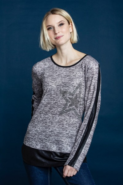 Estefania for woman, Shirt mit Stern und Lederoptik