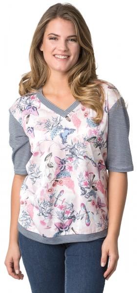 Rabe Shirt mit floralen Print und V-Ausschnitt