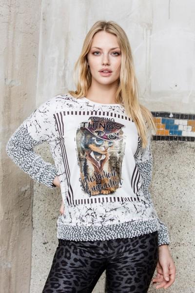 Gio Milano, Boucle Druck-Pullover mit Katze