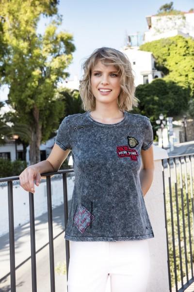 Gio Milano Shirt mit Ösen und Patches