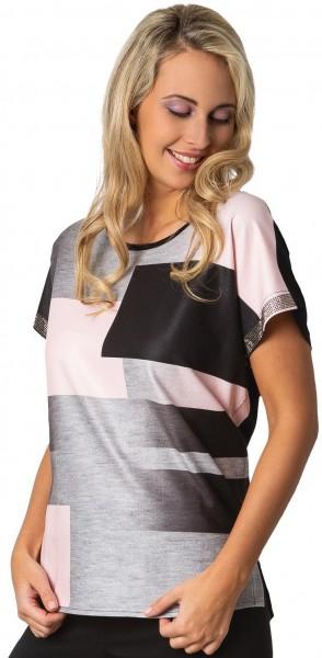 Estefania for woman, ueberschnittenes Shirt mit Strassblende am Arm