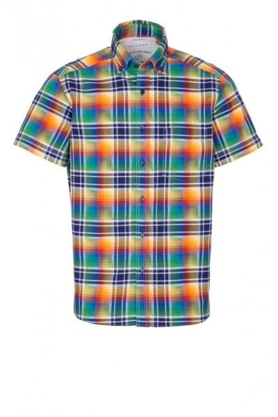 Eterna kurzarm Hemd, Regular fit, Upcycling shirt, bunt kariert