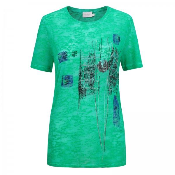 Estefania for woman, Shirt mit Rundhals-Ausschnitt und Ausbrenner Optik