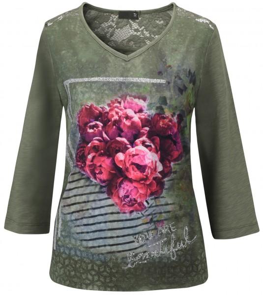 Rabe 3/4 Arm Shirt mit Blumendruck & Spitze