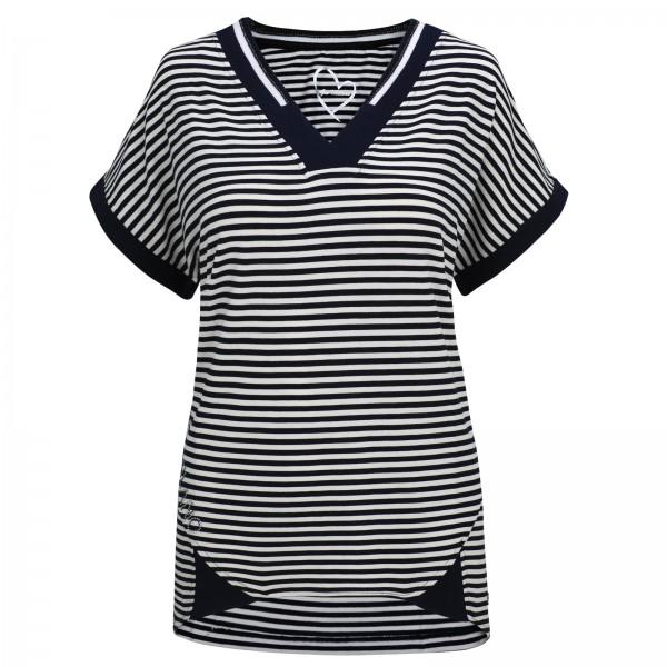 Gio Milano, Streifen Shirt mit V-Ausschnitt