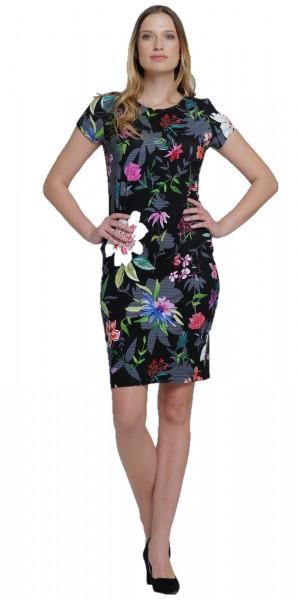 Schwarzes Sommerkleid mit Blumendruck