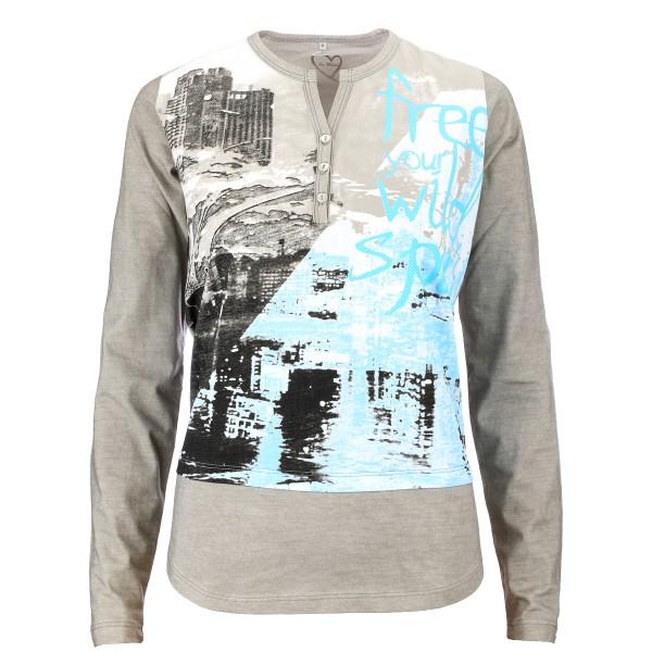 Gio Milano ,Shirt mit Knopfleiste und Fantasie Print