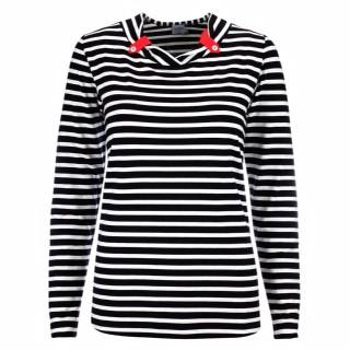Estefania for woman,gestreiftes Langarm-Shirt mit V- Ausschnitt