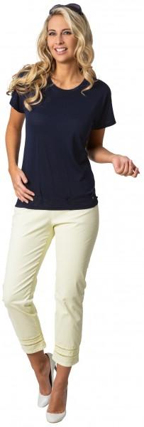 Stehmann, Capri Hose im Minimaldruck mit Hohlsaumstickerei