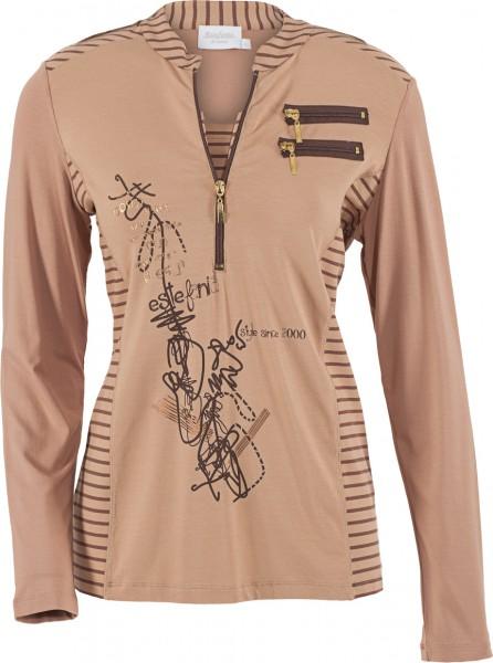 stretchiges Shirt mit Stehkragen und Reißverschlüssen
