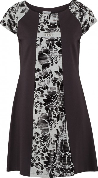 Kleid elegant mit Einsatz im Samtprint