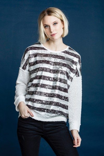 Estefania for woman, Boucle Pullover mit Streifendruck