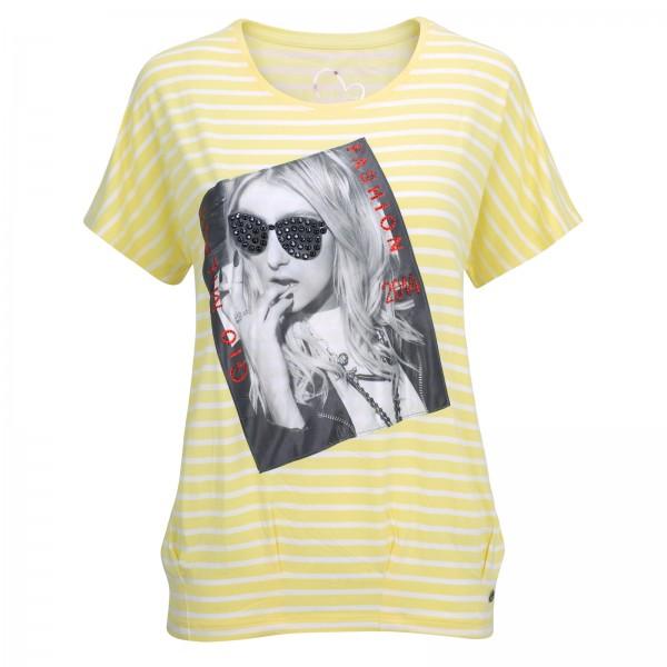 Gio Milano, Shirt mit Foto-Motiv und Strassapplikationen