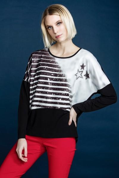 Estefania for woman, Shirt mit Streifendruck und Sternen