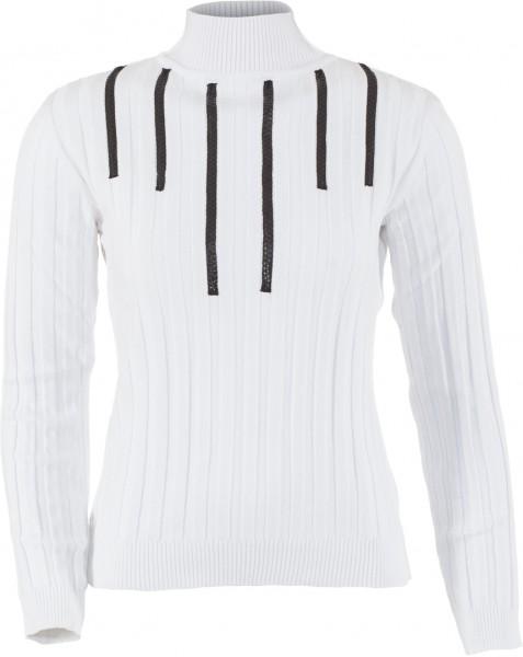 Pullover mit Stehbund und Lederapplikationen