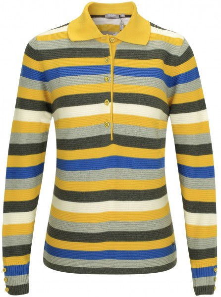 Rabe Strick Poloshirt mit langer Knopfleiste