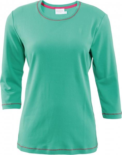 Estefania for woman BasicBaumwoll-3/4 Arm-Shirt mit Rundhals und Kontrastnähten
