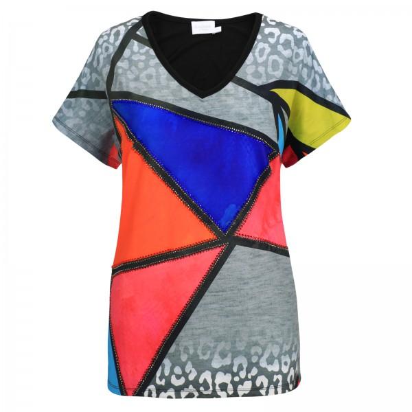 Estefania for woman, Shirt mit V-Ausschnitt und geometrischem Muster