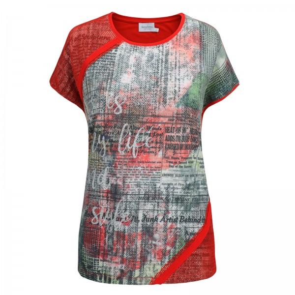 Estefania for woman, Shirt mit abstraktem Druck und Netzeinsatz