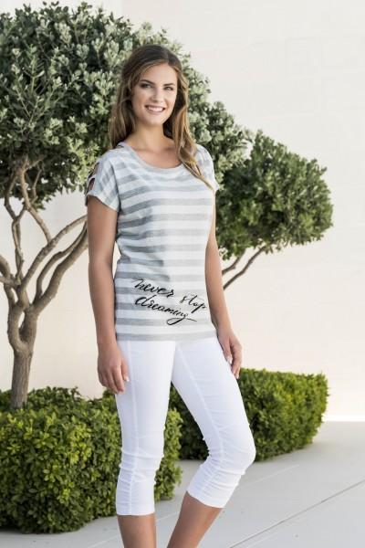 Estefania for woman Streifenshirt mit durchbrochener Schulter