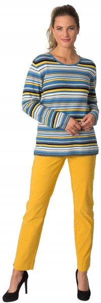 Rabe, Pullover mit Streifen, seitlich geschlitzt